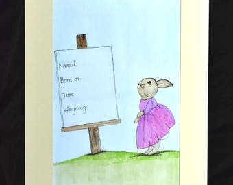 "New Born Art Work. A 18""x14"" mounted print of a vintage classic character viewing a notice announcing a birth."