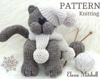 Knitting Patterns For Baby Animals : Knitting PATTERN Animal Knit Pattern Cat Animal Patterns