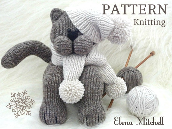 Sock Monkey Knitting Pattern Free : Knitting PATTERN Animal Knit Pattern Cat Animal Patterns