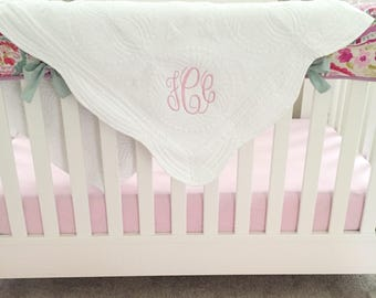 Monogrammed Baby Quilt, White Baby Quilt, Heirloom Baby Quilt, Personalized Baby Quilt, Baby Shower Gift