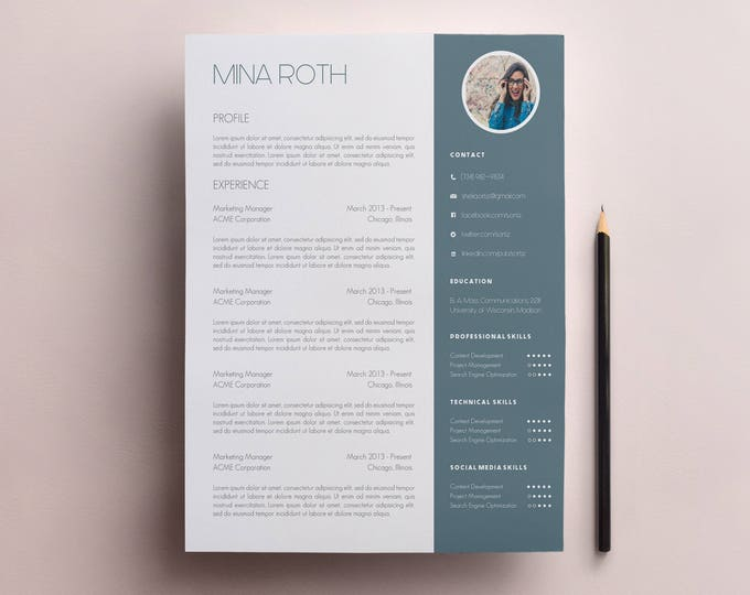 Featured listing image: Resume Template & Cover Letter Template with Photo and No Photo Designs - Microsoft Word Doc - Modern, Creative CV Template A4 and US Letter