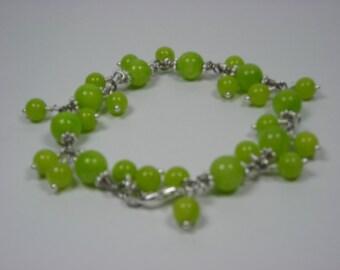 Honeydew Jade Chained Bracelet with Dangles