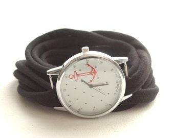 CHOISISSEZ VOTRE COULEUR D'ANCRAGE rond Wrap montre Bracelet Stretch poignet montre mode accessoire femmes ados poignet tatouage de couverture
