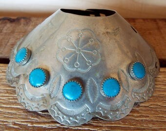 Vintage Southwest Native Etched Silver Turquoise Bun Cone Ponytail Holder Hair Accessory
