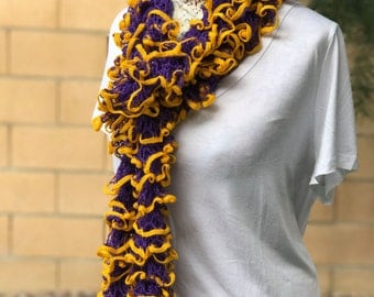 Purple Ruffle Scarf with Yellow Trim