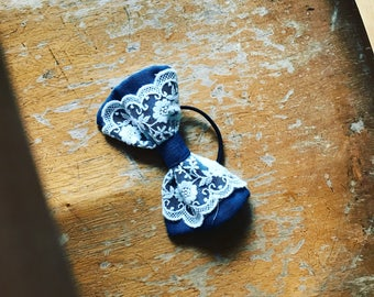 Linen and lace mori girl cute Japanese style petrol blue bow on black hairband