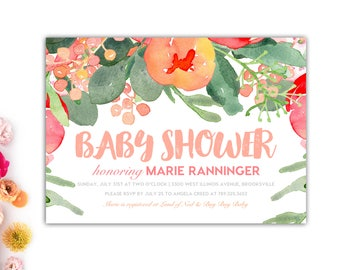 Floral Baby Shower Invitation // Baby Girl Shower Invitations // Printable Baby Shower Invitations // Watercolor Floral Invitations // Marie