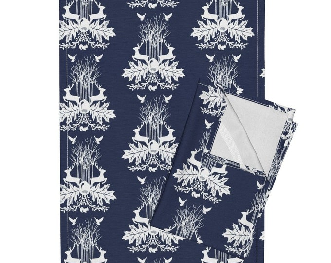 Woodland Crest - Dark Blue Tea Towel