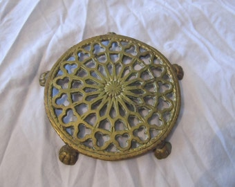 Antique Brass Gothic Victorian Claw Footed Trivet