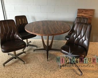Mid Century Modern Atomic Chromcraft Dining Set With 4 Chairs, Table And  Leaf
