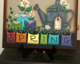 Spring hp wooden plaque, Maxine Thomas