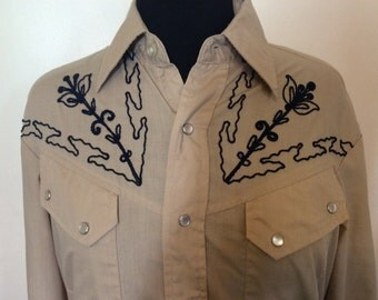 Vintage Western Cowboy Shirt - Med