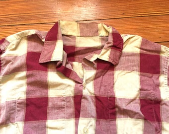 Vintage 60s Red Tan Plaid Loop Collar Shirt Medium