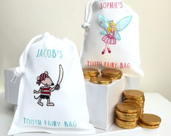 Tooth Fairy Bags With Any Name including Chocolate Coins Gift Bags Personalised Party Bags for Boys and Girls Colourful Fairy and Pirate