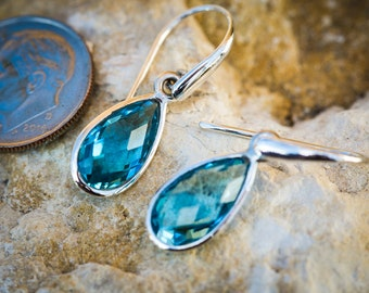Blue Topaz Dangle Earrings Checkerboard Cut Blue Topaz Sterling Silver earrings - Blue Topaz Earrings - Sterling Silver Blue Topaz Earrings