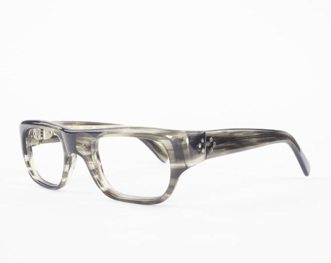 60s Vintage Glasses | 1960s Spex Horn Rimmed Eyeglasses | Clear Wraparound NOS Eyeglass Frame | Deadstock Eyewear - Marc