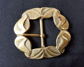 Antique Victorian Brass Belt Buckle Late 1800's Art Nouveau