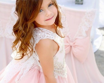 Pretty Lil Ballerina lace back beaded lace gold and pink Birthday dress