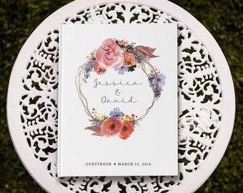 Rustic Guest Book, Rustic Wedding Guest Book, Custom Wedding Guest Book, Fall Wedding, Autumn Wedding, Watercolour Floral, WFB GB 006