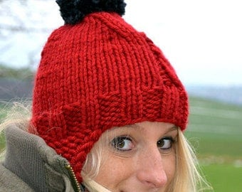 Bobble knit hat Red