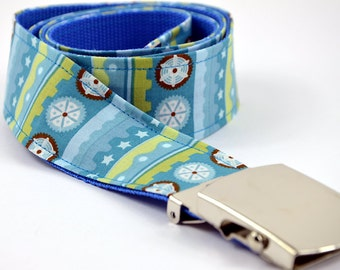 Belt blue yellow striped pattern 105cm