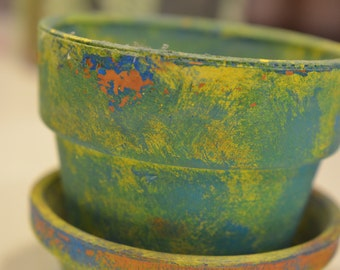 Beautiful Vintage handpainted flower pot, with potpourri in it, tropical colors green, yellow blue