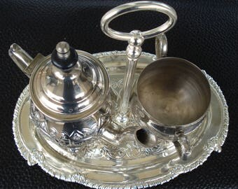Vintage Silver Plated Set of Tea, Coffeepot,  Sugar Bowl with Oval Tray/1980s