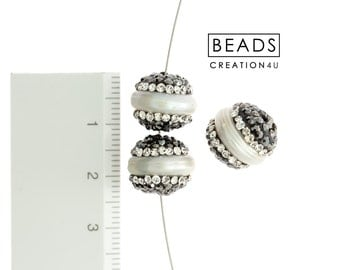 Crystal Pave Pearl Spacers,Crystal Pave Beads, Pearl Beads,Pearl Spacers.Rhinestone Pave Pearl Spacers 12X12