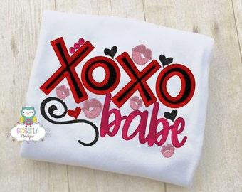 XOXO Babe Shirt or Bodysuit, Girl Valentine Shirt, Valentines Day Shirt, Valentines Day Outfit, Girls Heart Shirt
