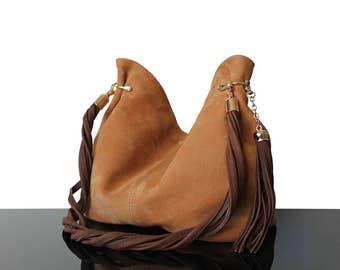 Hobo honey-mustard, Bucket mustard bag, luxury bags, Mustard bags, Women handbag, Bucket bag, Brown suede bag, Mustard suede bag