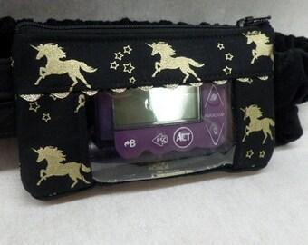 Gold Unicorns on black window insulin pump case for girls type 1 diabetes