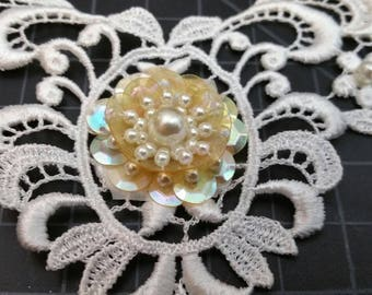 Applique collar beaded pearl and sequin, white with sequin, pearls and glass seed bead.  Grid is 1/2 inch square. wedding applique