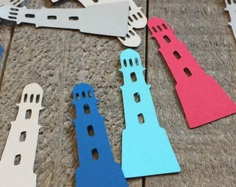 Blue Red and Gray Lighthouse Table Confetti / Nautical Beach Party Decor Decoration Table Scatter Scrapbook Embellishments  C088