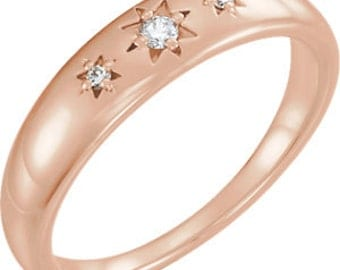 Diamond Wedding Band, Stardust Graduated Unisex Band, 14k Yellow, White, Rose gold, Platinum, and Sterling