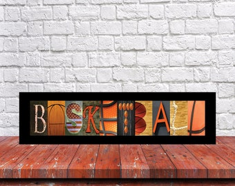 Basketball Letter Art, Basketball Sign, Basketball Player Gift, Basketball Room Decor, Basketball Wall Art, Basketball Alphabet Art, Coach