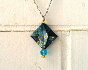 Turquoise origami necklace | Paper art jewellry |
