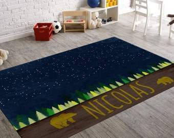 Rugs For Nursery, Bear Decor, Star Rug, Jungle Decor, Animal Rug,