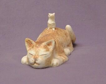 Handmade Ceramic Cat and  Mouse, Cat Figurine, Cat Sculpture, Mouse Figurine, Mouse Sculpture, Co-Existence.
