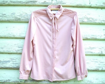 Vintage 1970s Blouse Semi Sheer Shirt Pink Top Panelled Retro Hippie Boho Vtg 70s Size XS-S