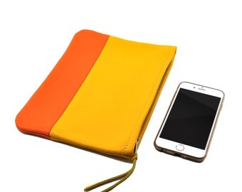 Small Leather Clutch/Pouch/Cosmetics Bag in Yellow & Orange; Genuine Full Grain Leather; Unlined; Color Block Clutch
