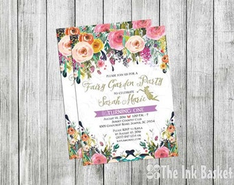 Fairy Garden Party Birthday Invitation, Girls Birthday, Fairy Garden