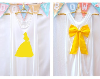 Belle Beauty and the beast Disney Princess Tank Premium with Bow : Workout Shirt - Tank Top - Razor Back Tank - Princess tank - Bridal party