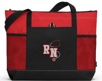 RN Nurse Gift/ RN Nurse Tote Bag/ Embroidered RN Nurse/ Nurse With Stethoscope Red Nurse Tote Bag
