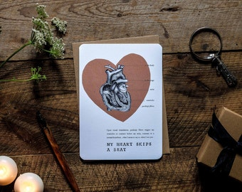 Anniversary romantic anatomical heart greetings card * anatomy * my heart skips a beat * science * sciart * humour * silly * fun