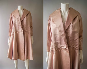 vintage 1950s coat / 50s mauve silk satin coat / small - medium