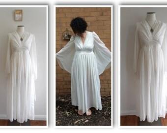 Vintage 70s Boho WEDDING Dress // ANGEL*SLEEVE Maxi Dress // Empire Waist // Hippie Hippy // Festival // Cream Floaty Gauze Style // Size: S