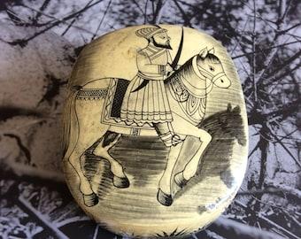 SOLD Vintage Trinket Box - Indian - Handpainted - Unique - Warrior - Horse