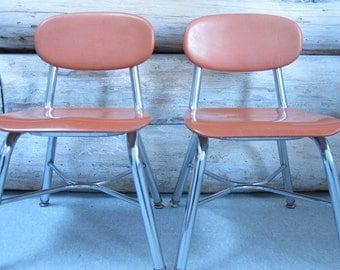Vintage School Chairs Childrens Orange C Hair Chrome Industrial Metal Mid  Century Modern Childs Chair Orange