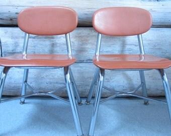 Vintage School Chairs Childrens Orange C hair Chrome Industrial Metal Mid Century Modern Childs Chair Orange Molded Fiberglass MCM Chairs