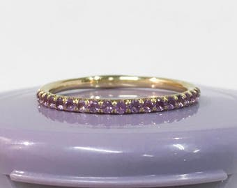 14K Amethyst Half Eternity Band Ring 1.7mm 14K Yellow Gold Amethyst Infinity Ring 14K Amethyst Matching Eternity Birthstone Stacking Ring